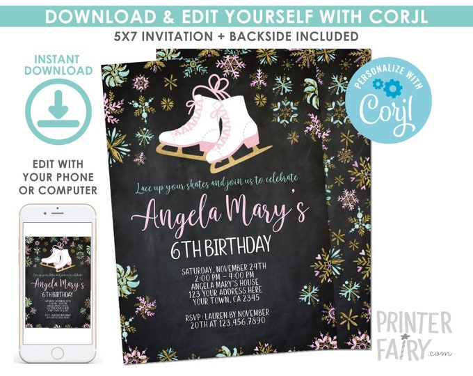EDITABLE Ice Skating Birthday Invitation Chalboard, Winter Birthday Party, Snowflake Invitation, EDIT YOURSELF Digital Invite