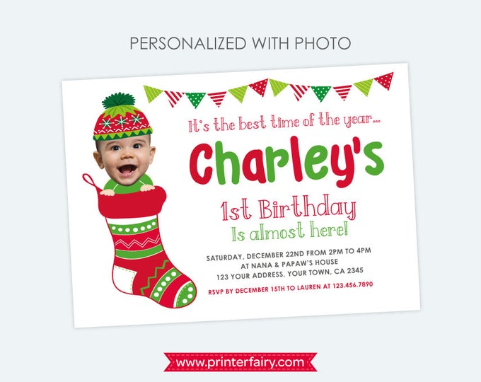 Christmas birthday Invitation with Photo, First Birthday Christmas Invitation, Personalized DIGITAL Printable Invite, Any age, 2 options