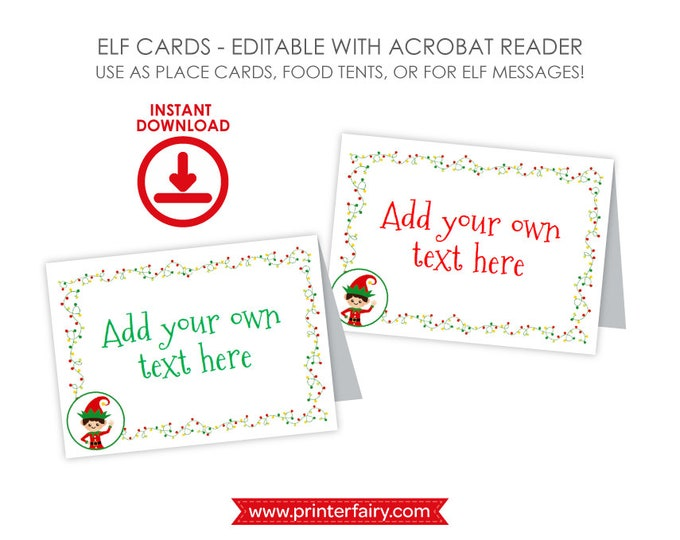EDITABLE Christmas Elf Place Cards, Elf Food Tents, Christmas Party Place Cards, Folding Labels, INSTANT DOWNLOAD