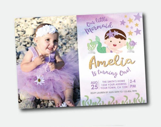 Mermaid First Birthday Invitation with photo, Under the Sea First Birthday Invitation, Mermaid Invitation, Personalized Digital Invitation
