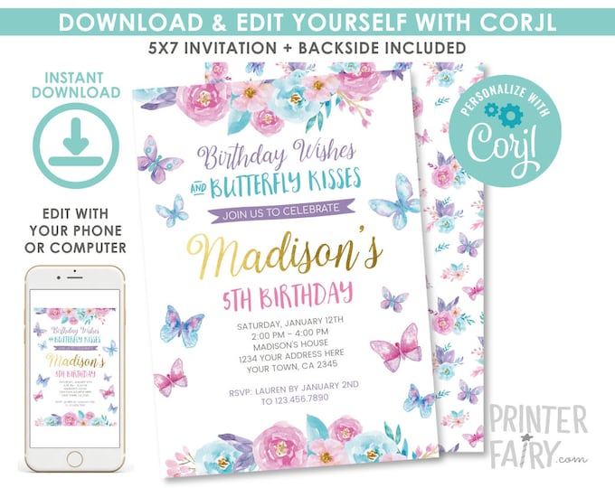EDITABLE Butterfly Birthday Invitation, Spring Birthday Party, Garden Invitation, Floral Birthday Invite, EDIT YOURSELF Digital Invitation