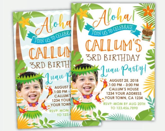 Luau Boy Birthday Invitation with Photo, Hawaiian Birthday Party, Beach Birthday Party, Personalized Digital Invitation, 2 options