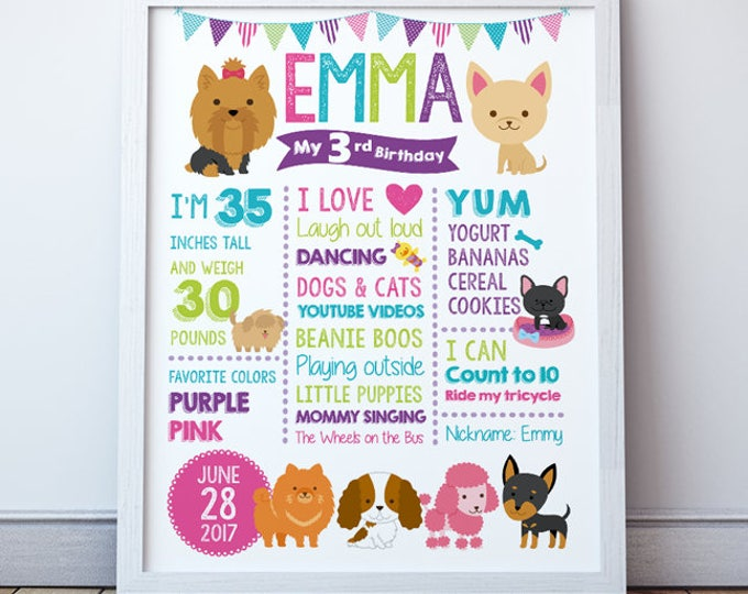 Pet Adoption Party, Puppy adoption party, Puppy birthday Poster, Birthday Stats, 2 color Options to choose, DIGITAL