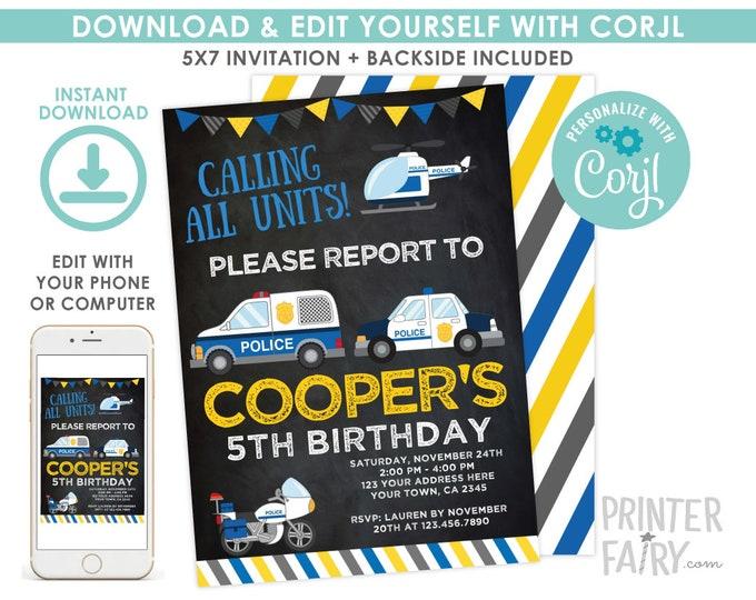 Police Invitation, EDITABLE Cops & Robbers Birthday Party, Police Car Invitation, Black, EDIT YOURSELF with Corjl