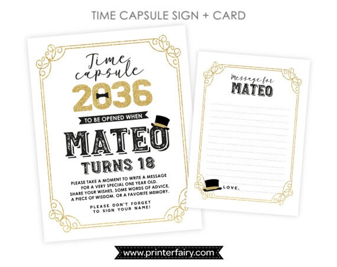 Mr ONEderful Time Capsule, Personalized sign + card, Mr ONEderful 1st Birthday, Printable Time Capsule, Little Gentleman DIGITAL