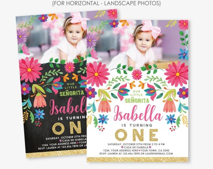 First Fiesta Birthday Invitation with Horizontal or Landscape Photo, Cinco de Mayo Birthday, Little Señorita, Any Age, Personalized Invite