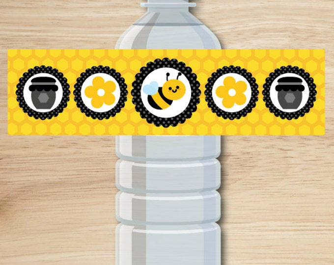 Bee water bottle label, bee birthday party