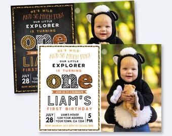Safari First Birthday invitation with Picture, Animal Print Invite, Explorer Invite, Wild animal, ANY AGE, Personalized Digital Invitation