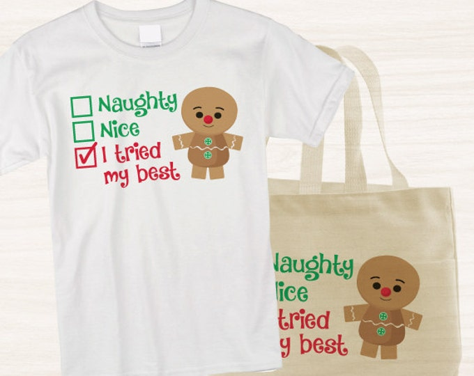 Christmas tshirts, naughty or nice, printable Iron on