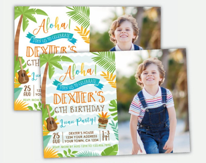 Luau Boy Invitation with Photo, Hawaiian Birthday Party, Summer Birthday Party, Personalized Digital Invitation, 2 options