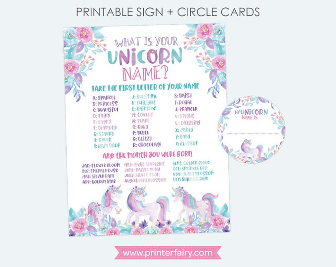 Unicorn Name Sign, Unicorn Birthday Party, Birthday Party Games, Magical Birthday Party, Unicorn Name Poster, INSTANT DOWNLOAD
