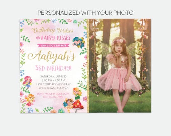 Fairy Birthday Invitation with Photo, Magical Invitation, Fairy Garden Birthday Party, Personalized Digital Invitations