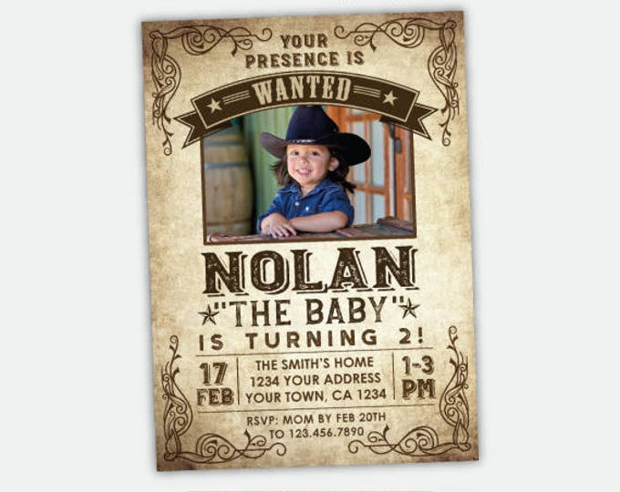 Wanted Poster Birthday Invitation with Photo, Western Invitation, Cowboy Birthday Party, Personalized Digital Invitation