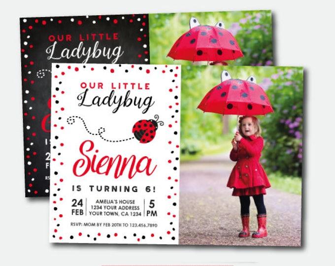 Ladybug Invitation with photo, Ladybug Birthday Party, Personalized Invitation, Polkadot Girls Invite, 2 options