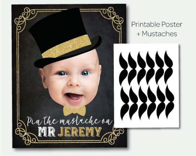 Pin the mustache game, Mr Onederful Birthday Party, Mr Onederful Games, Chalkboard Printable Sign, DIGITAL Personalized item