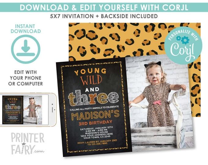 Wild and Three Birthday Invitation with Photo, EDITABLE Safari Invitation, Animal Print Party, Jungle Invite, EDIT YOURSELF Digital Invite