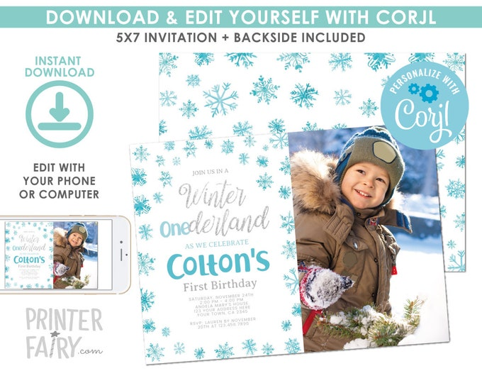 EDITABLE Snowflake Boy Birthday Invitation with Photo, Winter ONEderland Birthday Party, First Birthday EDIT YOURSELF Digital Invite