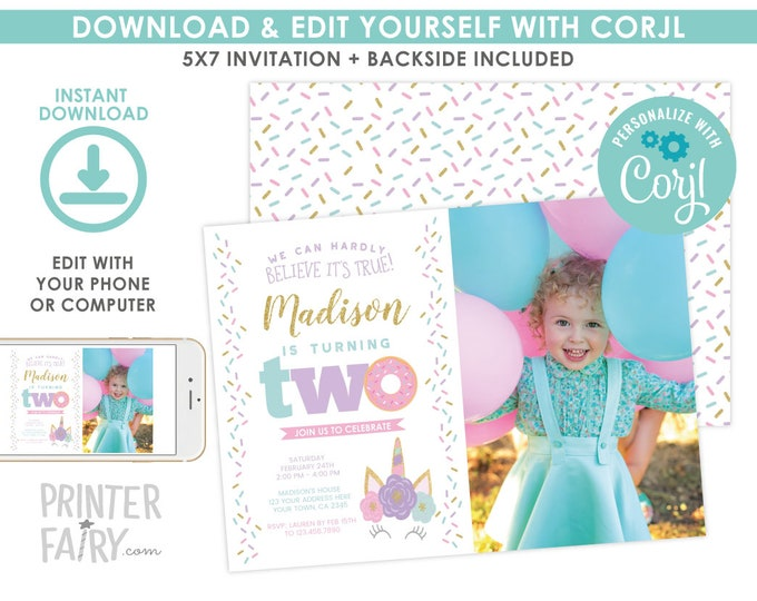 Unicorn and Donut Invitation with Photo, EDITABLE Invitation, 2nd Birthday Invitation, Unicorn Invitation, EDIT YOURSELF with Corjl