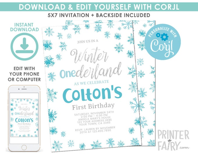 EDITABLE Snowflake Boy Birthday Invitation, Winter ONEderland Birthday Party, Winter Party, First Birthday EDIT YOURSELF Digital Invite
