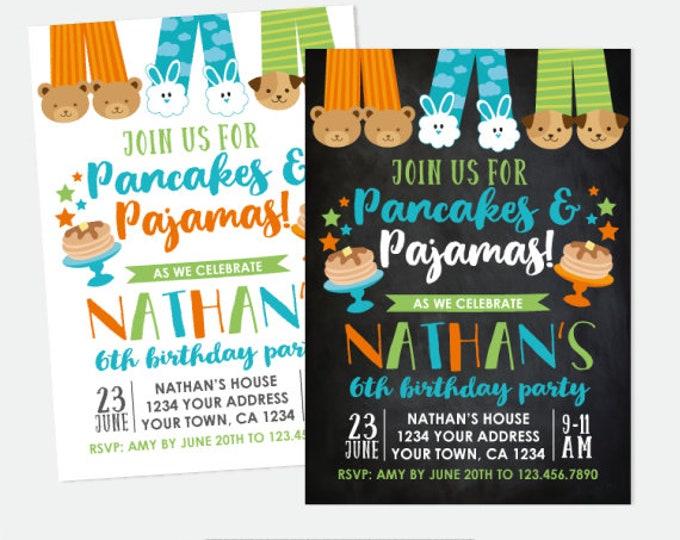 Pancakes and Pajamas Boy Birthday Invitation, Pajama Party, Sleepover Birthday, Personalized Digital Invitation, 2 options