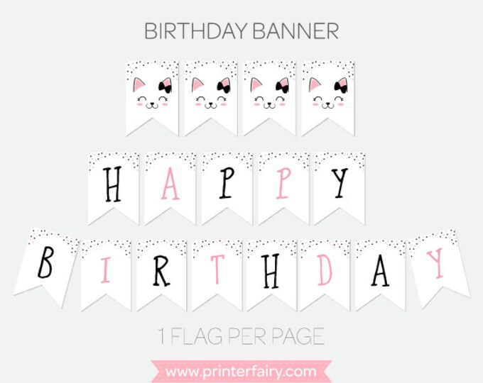 Kitty Cat Birthday Banner, Kitty Cat Party Decorations, Black, pink and white, Printable Pack, INSTANT DOWNLOAD