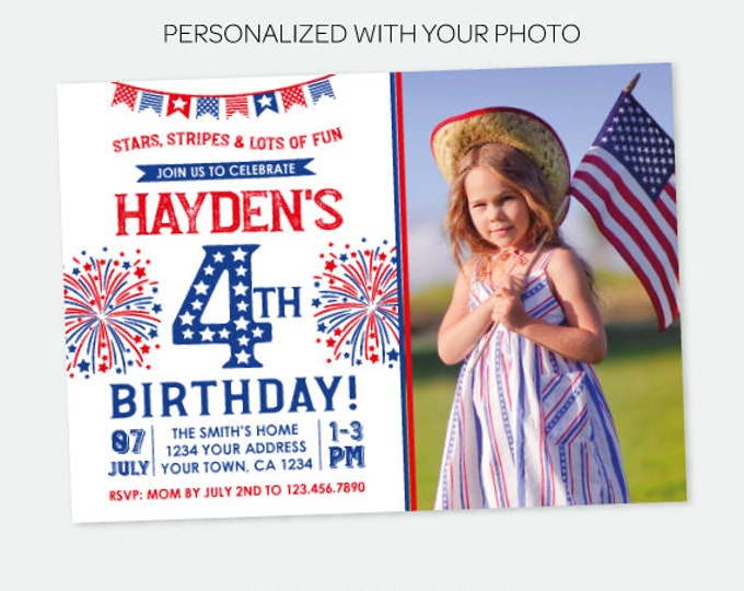 4th of July Birthday Invitation with Photo, Independence Day Party, Firecracker Invitation, Any Age, Personalized Digital Invitation