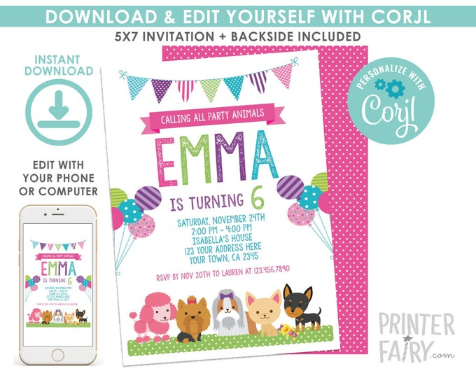 EDITABLE Puppy Birthday Invitation, Pet adoption Party, Dogs Birthday Invitation, Puppies EDIT YOURSELF Digital Invite