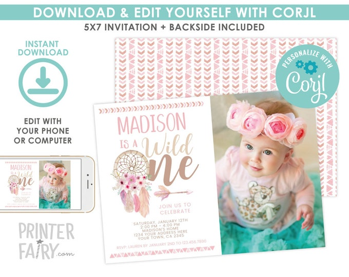 Wild One Invitation with photo, EDITABLE Dreamcatcher Birthday Party, First Birthday Invitation, Tribal Party, EDIT YOURSELF with Corjl