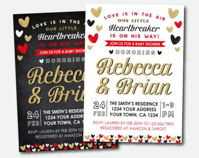 Valentines Baby Shower Invitation, Little Heartbreaker Baby Shower Invite, Digital Personalized Invitation