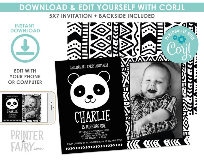 EDITABLE Panda Birthday Invitation with Photo, Black and White Birthday Party, Modern Birthday, Panda Invite, EDIT YOURSELF Digital Invite