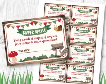 Woodland Diaper Raffle Insert, Baby Shower Diaper Raffle, Baby Shower Games, INSTANT DOWNLOAD