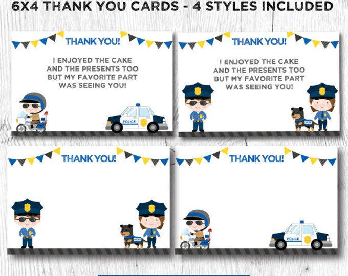 Police thank you cards, Police Birthday Party, Police printables, Cops and robbers party, Cops and robbers thank you cards, DIGITAL files