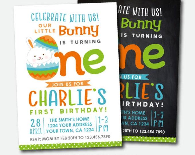 Easter Invitation, Easter Birthday Invite, Egg Hunt Invitation, Little Bunny Boy Invitation, Digital Personalized Invitation, 2 Options