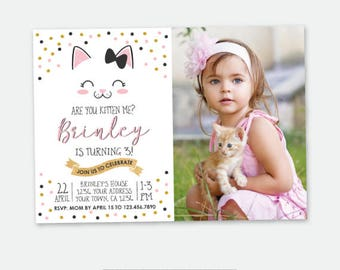 Kitty Birthday invitation with Photo, Kitty Cat Birthday Party, Cat Invitation, Pawty Invitation, Personalized Digital Invitation