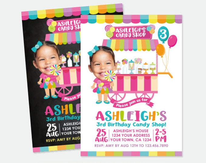 Candy Birthday Invitation with Photo, Candy Shop Birthday Party, Sweet Shop Invitation, Personalized Printable Invitations, 2 options