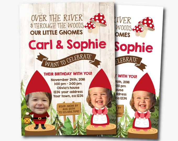Woodland Birthday Invitation with Photo for Siblings, Gnome Birthday Party, Joint Party Invite, Personalized Printable DIGITAL, 2 Options