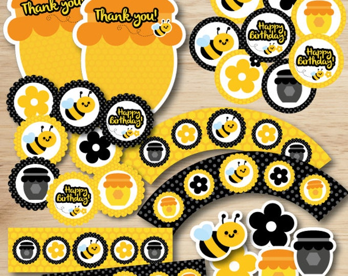 Bee party package, cupcake topper, stickers, bee water labels, cupcake wrappers