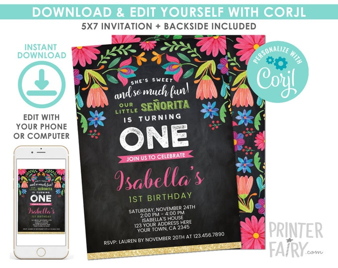 EDITABLE Fiesta 1st Birthday Invitation Chalkboard, Cinco de Mayo Birthday Party, Little Senorita, Any Age, EDIT YOURSELF Digital Invite