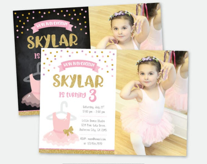 Ballet Invitation with Photo, Tutu Invitation, Tutu Birthday party, Ballerina Birthday, Personalized DIGITAL Invitation
