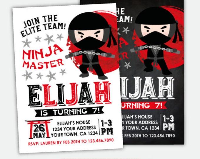 Ninja Birthday Invitation, Karate Invitation, Ninja Birthday Party, Personalized Invitation, 2 options