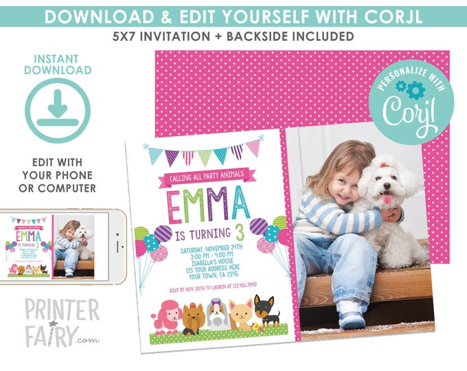 EDITABLE Puppy Birthday Invitation with Photo, Pet adoption Party, Dogs Birthday Invitation, Puppies EDIT YOURSELF Digital Invite