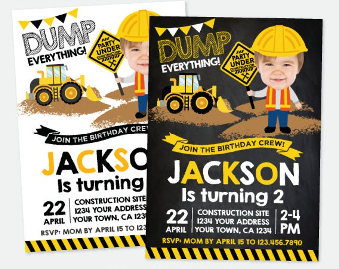 Construction Invitation with Photo, Construction Birthday Party, Dump truck Invitation, Personalized Digital Invitation, 2 options