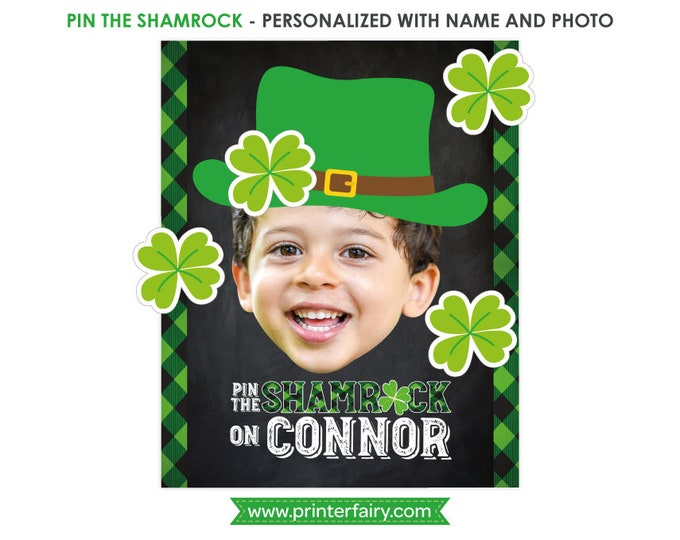 Pin the shamrock game, St Patricks day sign, St Patricks day Birthday Party, Shamrock birthday, Chalkboard Poster, DIGITAL Personalized item