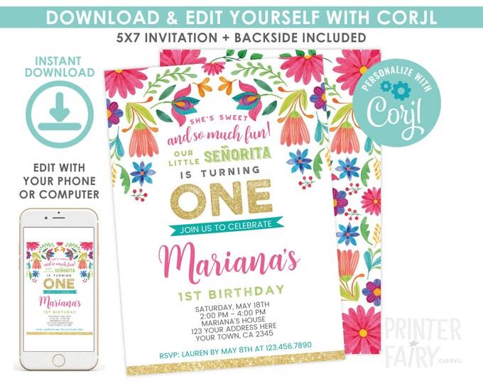 EDITABLE Fiesta 1st Birthday Invitation, Cinco de Mayo Birthday Party, Little Senorita, Any Age, EDIT YOURSELF Digital Invite