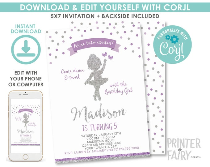 EDITABLE Ballerina Birthday Invitation, Purple and Silver, Ballet Invitation, Dance Birthday Party, Any age, EDIT YOURSELF Digital Invite