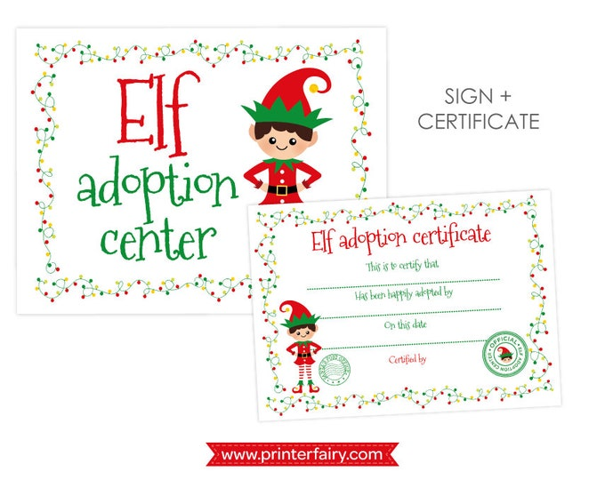 Christmas ELF Adoption, Pet Adoption Party, Sign and adoption certificate, Elf adoption station, INSTANT DOWNLOAD