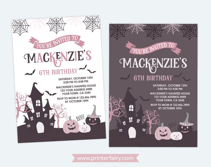 Halloween Invitation, Pink and Black Halloween Birthday Party, Girls Birthday Party, DIGITAL Personalized, 2 options