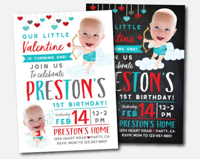 Valentines Birthday Invitation with photo, Little Sweetheart First Birthday Invitation, Personalized DIGITAL Invites