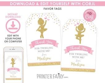 DIGITAL DOWNLOAD Ballerina Theme Pink and Chip Bag Labels Printable Download