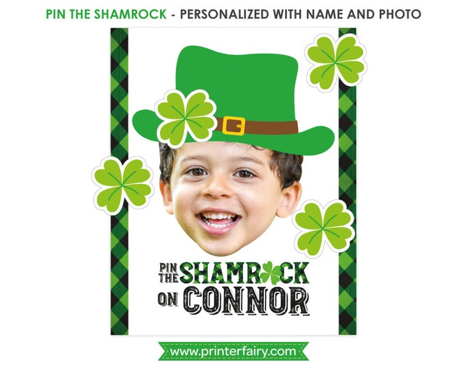 Pin the shamrock game, St Patricks day sign, St Patricks day Birthday Party, Shamrock birthday, Poster, DIGITAL Personalized item